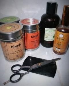 Some long hair care tools: khadi hair washing powders, macadamia hair oil, khadi hair oil, hercules sagemann dust comb,jaguar hair scissors