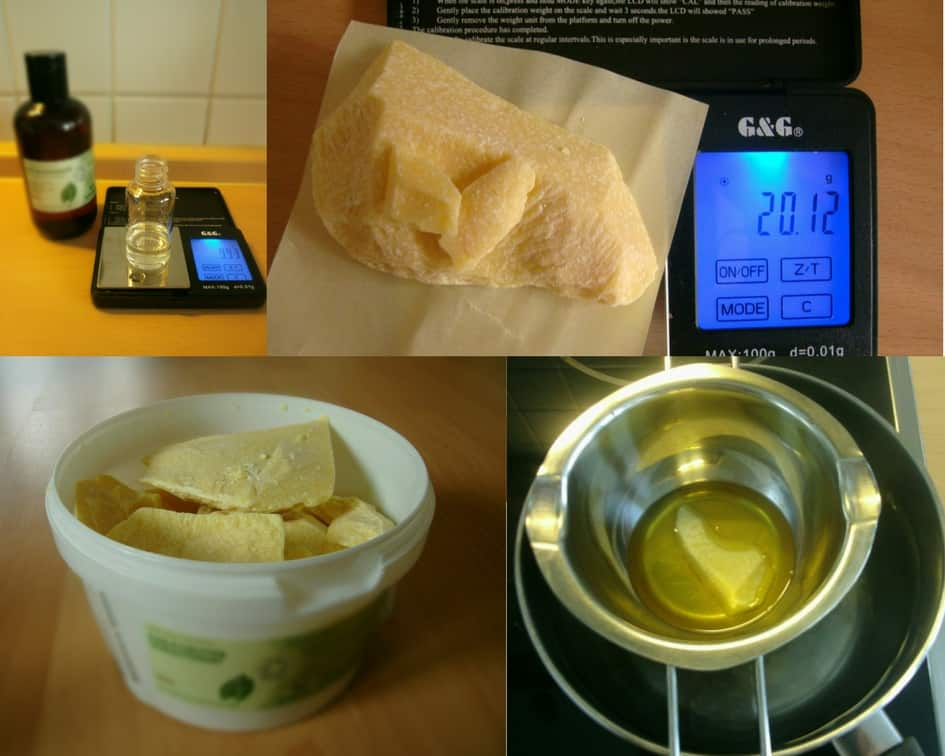 Images of the steps on how to make the homemade hand cream without beeswax