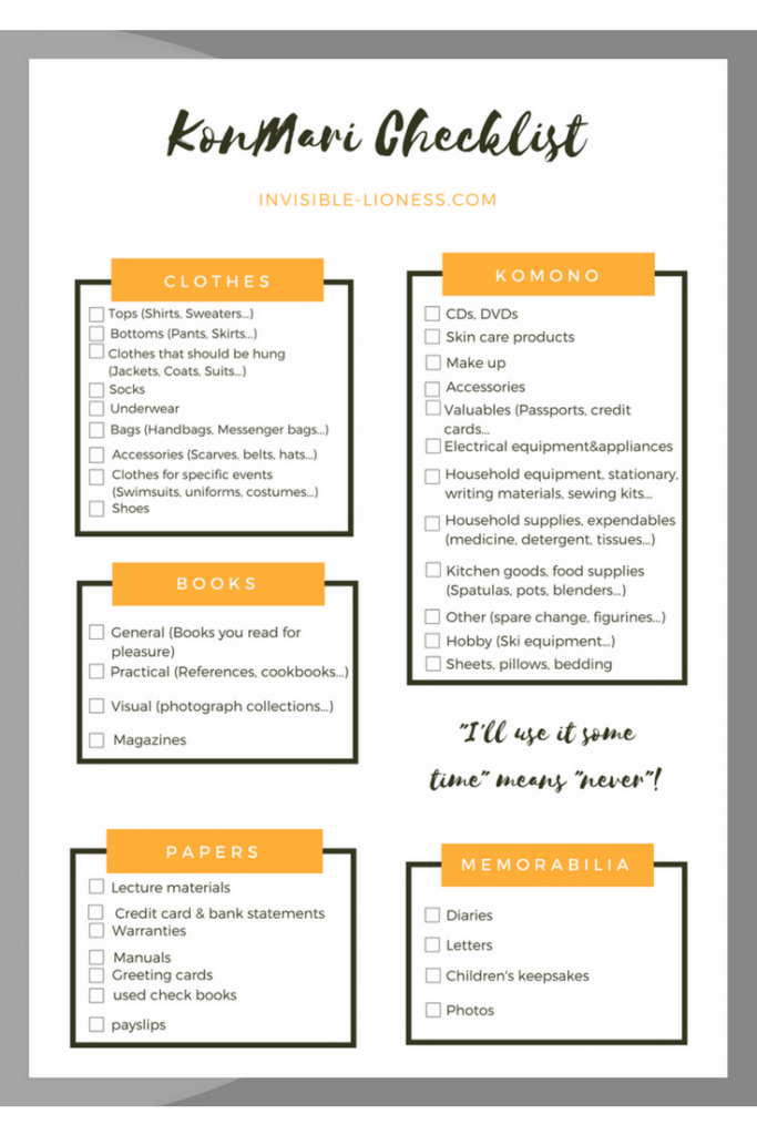 You don't need decluttering ideas, because you are already in love with the KonMari method? I got just the thing to help you with tidying up! Find my free printable KonMari checklist here. And then have fun decluttering your home!