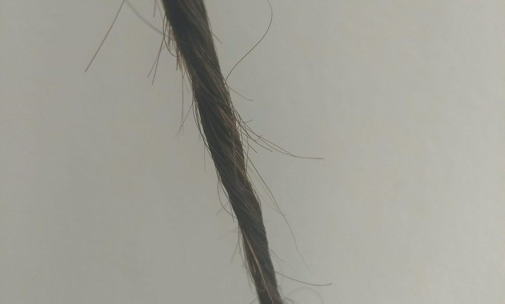 how to stop split ends: twisting a strand of hair around it's axis and then cutting them off