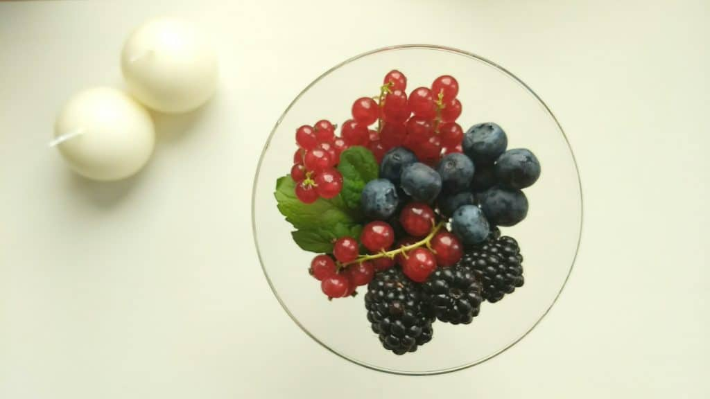 Image of a glass bowl with various berries