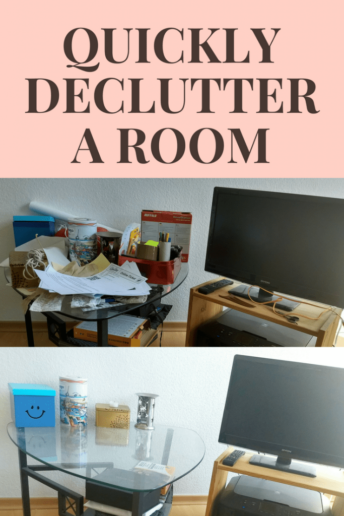 Want to know my favorite tip on how to quickly declutter a room? Between this before and after are only a few minutes!