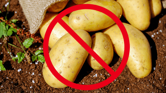 Image of a bunch of potatoes with a red 'forbidden' symbol drawn over them