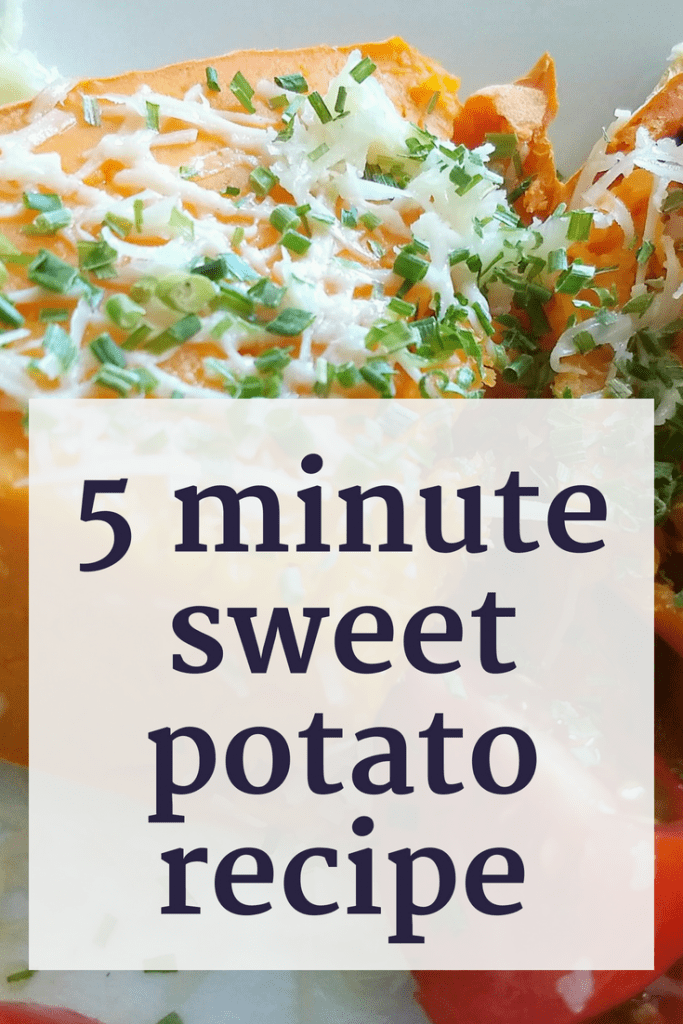 Hungry RIGHT NOW? This simple sweet potato recipe only takes 5 minutes to make. So if you feel like a little thanksgiving feeling with a super quick recipe, try this! #sweetpotato #healthyeating #simplerecipe #5minuterecipe #quickrecipe #thanksgiving #bestrecipes
