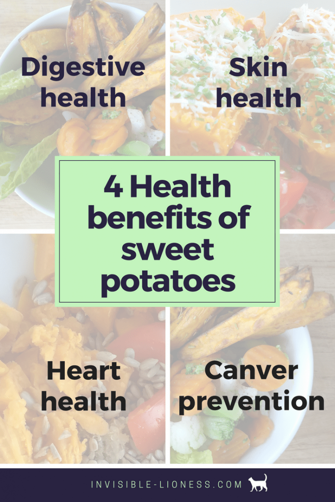 image with the 4 health benefits of sweet potatoes written across: Digestive health, skin health, heart health and cancer prevention