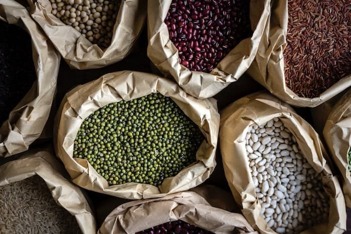 Image of bags with healthy beans in various colours
