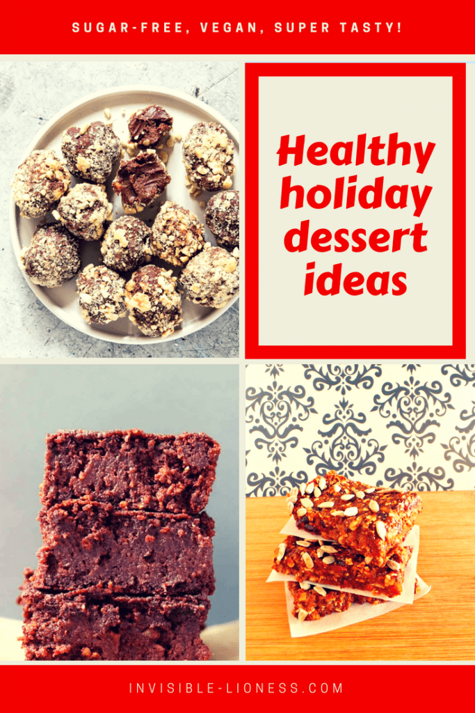 Looking for healthy holiday desserts? These tasty recipes are sugar-free, vegan and incredibly tasty! I know I will make those for Thanksgiving as well as for the Christmas holidays.