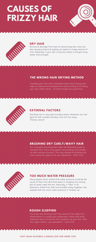 Want to understand how to get rid of frizz? Let's look at the causes for frizzy hair first. This infographic lists the most common reasons for having frizz. #frizz #hair #haircare