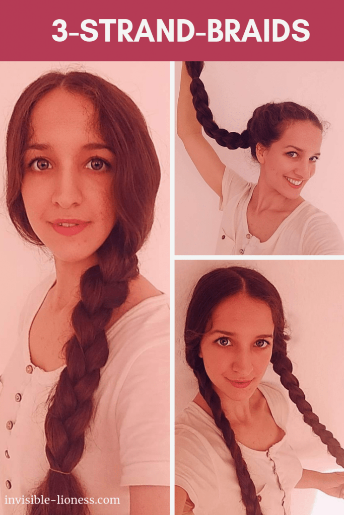 The easy 3-strand-braid can be quite versatile. Here you can see 3 three-strand hairstyles for long hair: an easy side braid, a braided ponytail and classic braided pigtails.