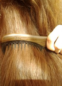 combing long hair with a wooden horn comb