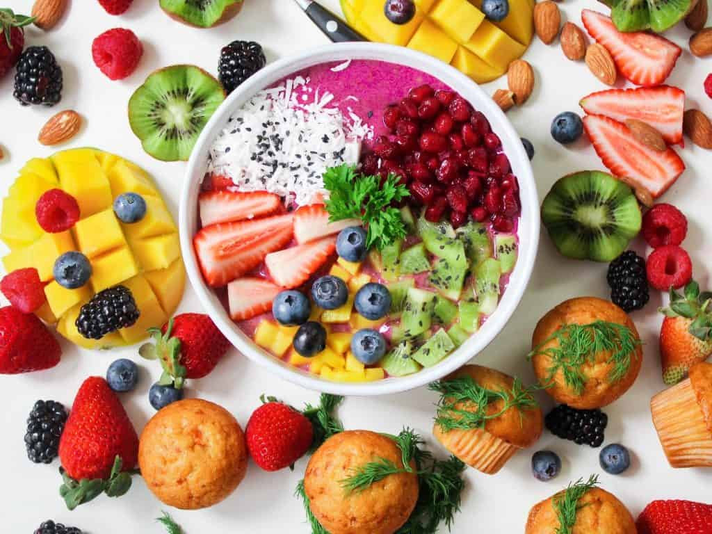 Healthy hair tip number 1: Keep yourself healthy. Eat like a rainbow, like that fruit bowl in the picture.