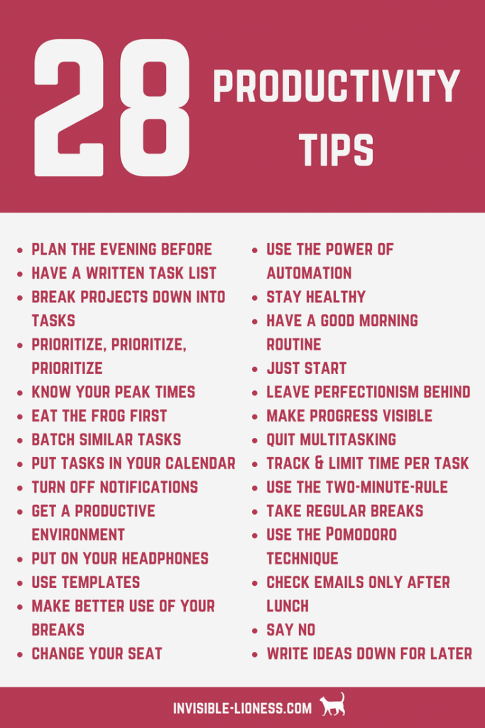 Need some productivity tips? Check out this list of 28 productivity tips that will help you increase your productivity!