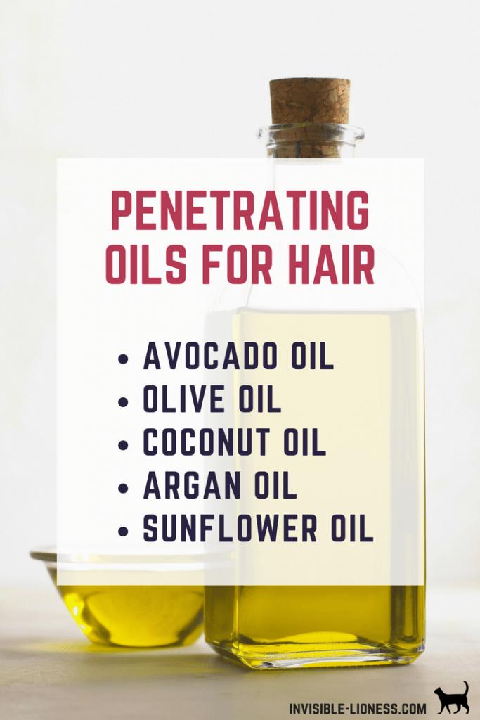A list of 5 penetrating oils for hair care: avocado oil, olive oil, coconut oil, argan oil, and sunflower oil.