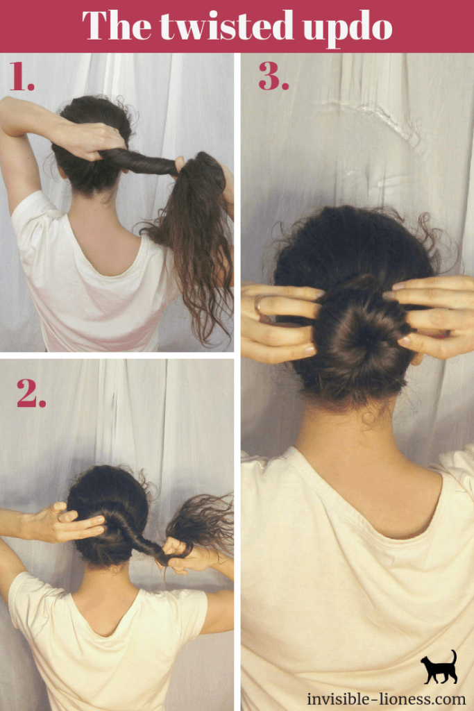 This step by step tutorial shows you how to easily make a twisted updo.