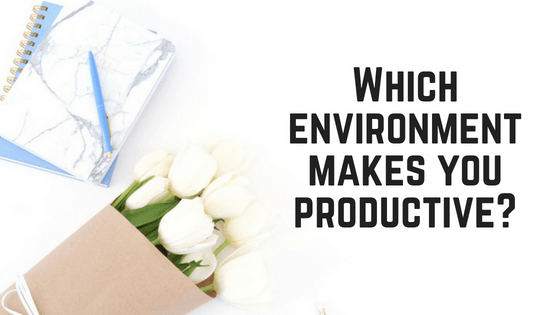 "Image of a Light blue notebook and white flowers in a brown paper wrap with text: ""Which environment makes you productive?"""