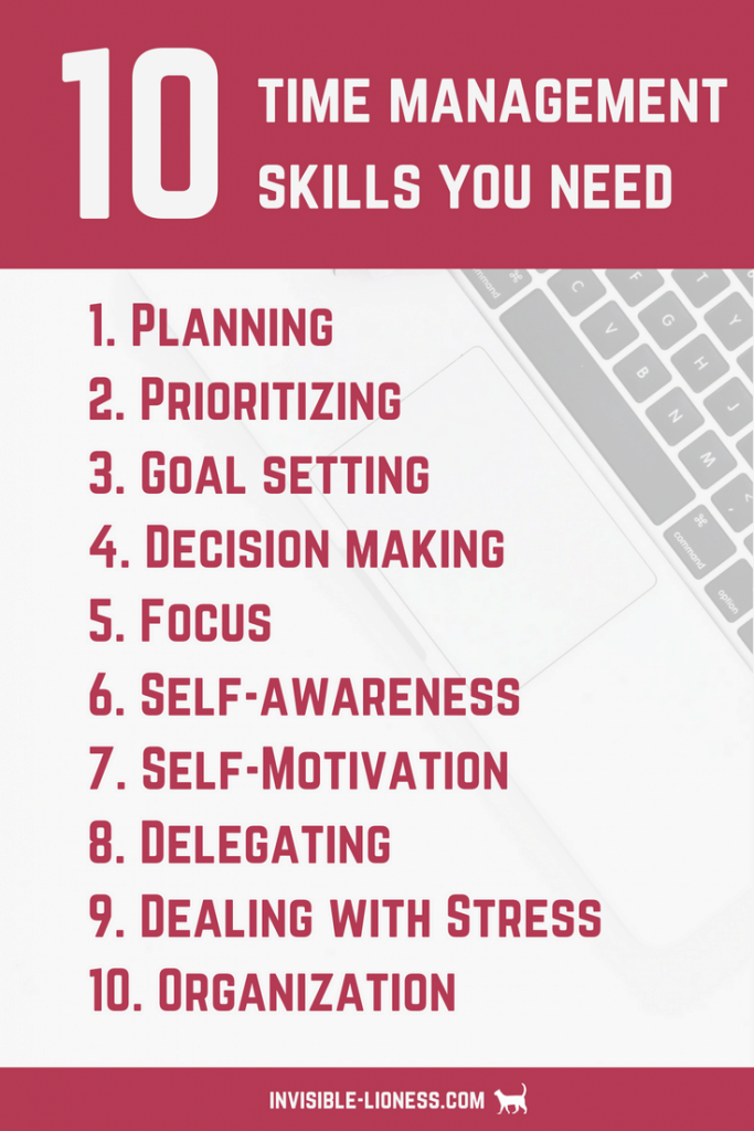 A graphic with a list of 10 time management skills you need to become more productive: planning, prioritising, goal setting, decision making, focus, self awareness, self motivation, delegating, dealing with stress, organisation