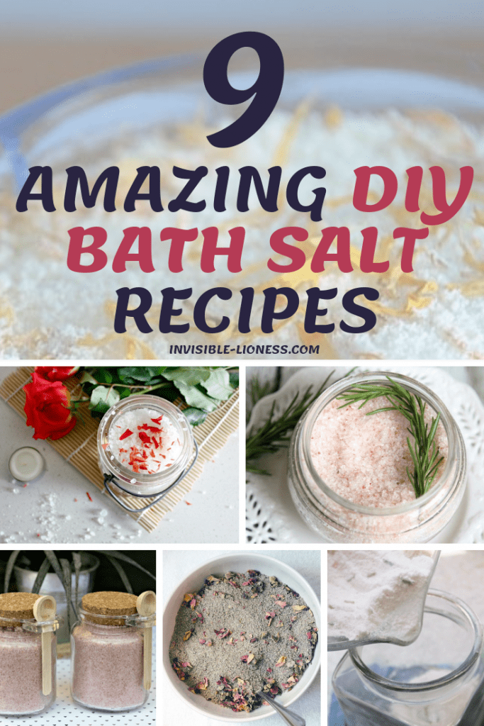 Looking for homemade bath salt recipes? Look no further! This list of 9 easy DIY bath salts has everything you might want: bath salts with lavender, for sore muscles, with and without epsom salt and, of course, quite a few bath soak recipes with essential oils. Go try them out!