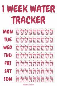 A free water tracker printable to help you stay on track with your daily water intake.