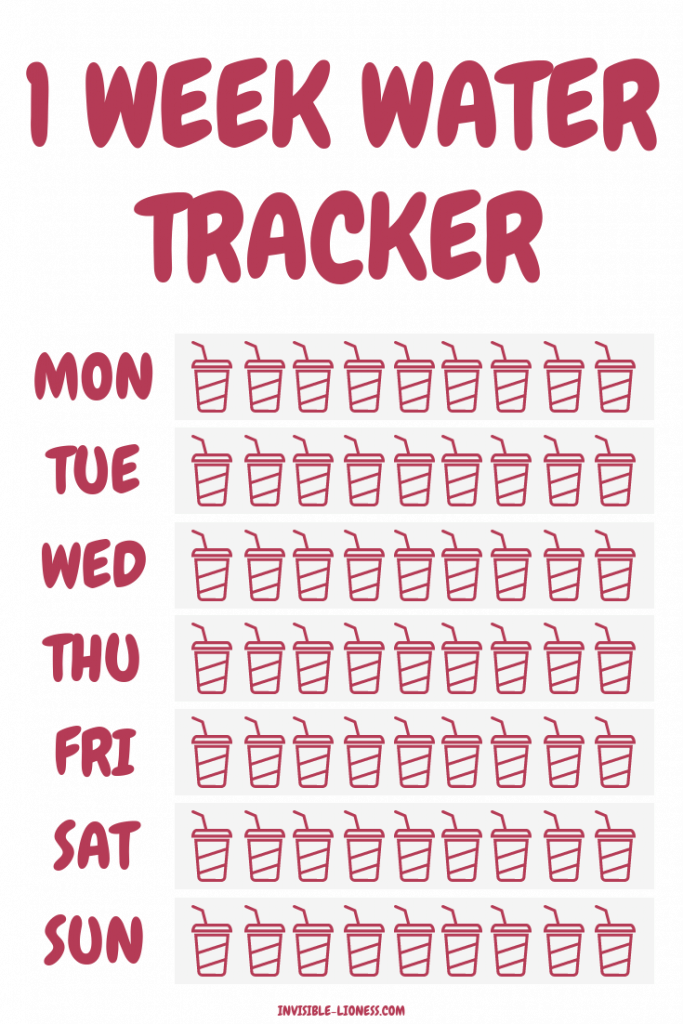This free water tracker printable will help you stay on track with your daily water intake.