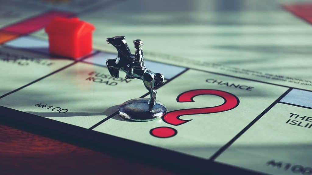 A figure from the board game Monopoly