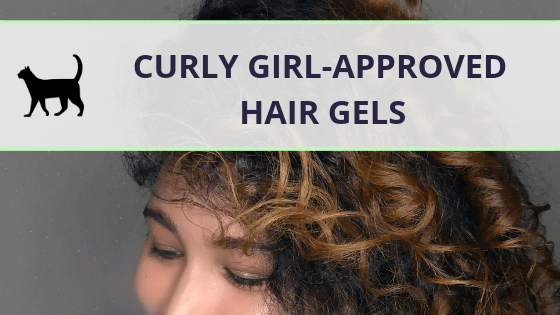 """Image of a curly woman, the text """"Curly girl-approved hair gels"""" written across"""