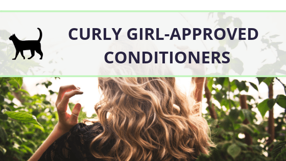 """Image of some blonde, wavy hair with the text """"curly girl approved conditioners"""" written across"""