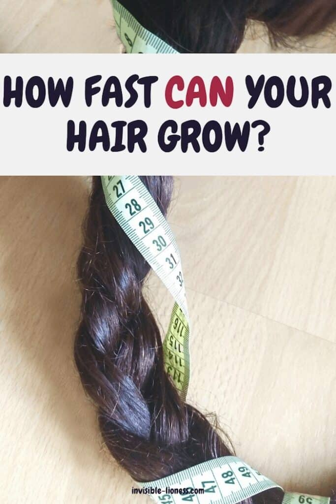"""Image of a long hair with a measuring tape wrapped around, the words """"How fast can your hair grow?"""" written across"""