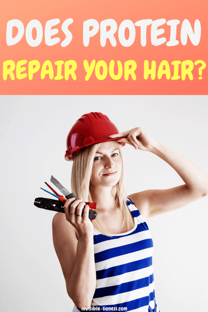 Question: Does protein repair your hair? Image of a blonde lady with repair tools and a red hat