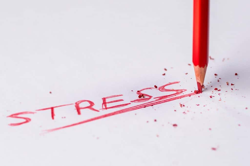 "Image of a red crayon and the written word ""Stress"""