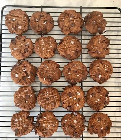 Image of freshly baked peanut butter cookies, another quick recipe for a sugar-free dessert without added sweetener