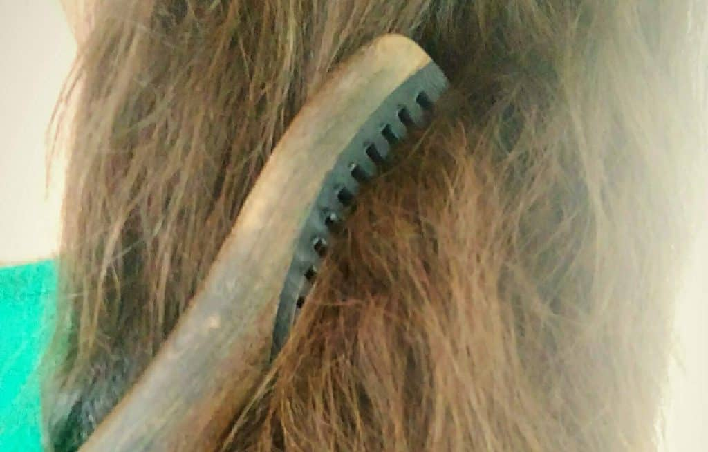 Image of dry, tangled hair that could benefit from a coconut oil treatment, a wooden comb stuck in it t