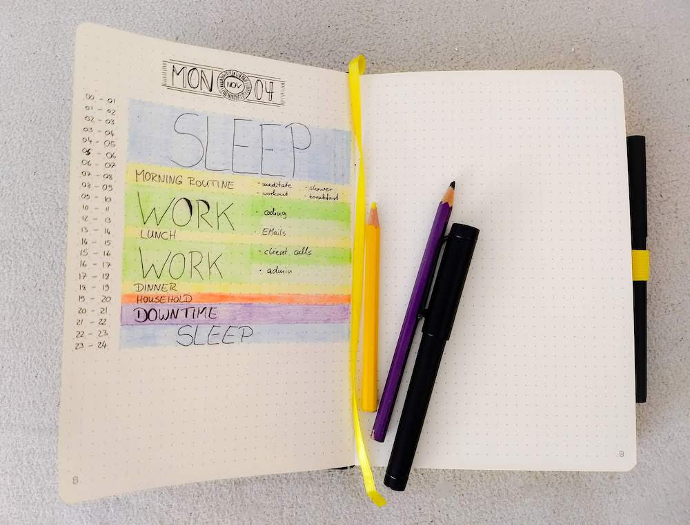 Image of a bullet journal with a time blocked day schedule on the left page, pencils and pens on the right side
