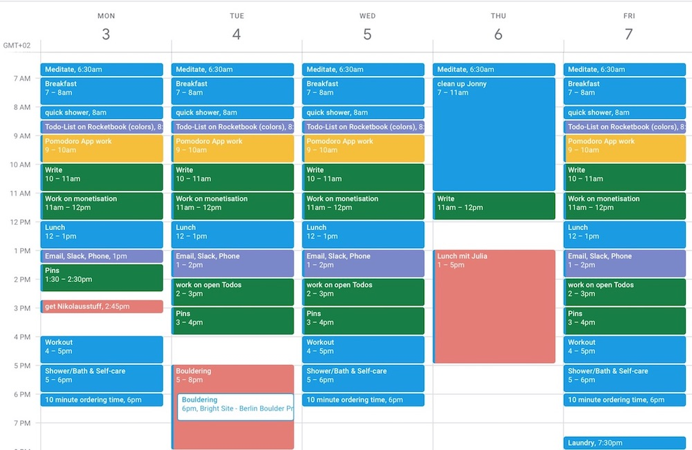 Image of a time blocking calendar, all time slots are blocked with activities & appointments in different colours