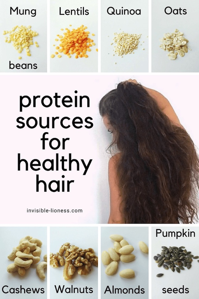 This infographic lists 8 vegetarian and vegan protein sources for healthy hair roots: Mung beans, lentils, quinoa, oats, cashews, walnuts, almonds, and pumpkin seeds.