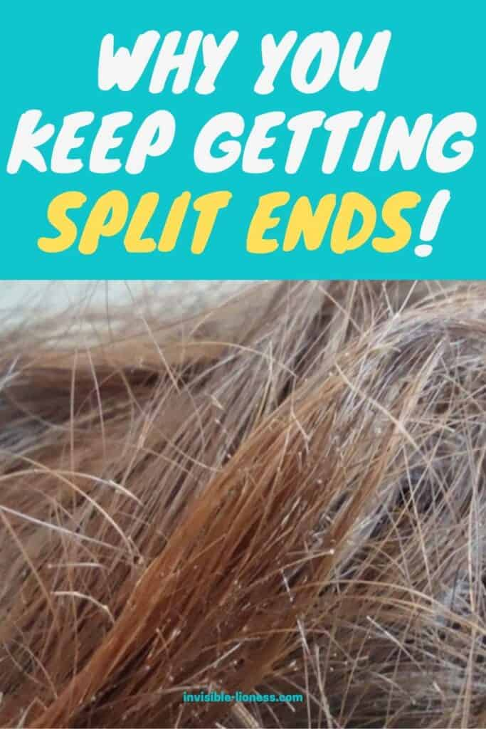 Pin image with a close up of split ends and the words 'Why you keep getting split ends!' written on top